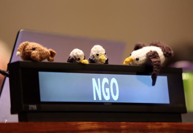 会场中的非政府组织席位 信天翁是民间票选的公海谈判大使  |  创绿研究院摄